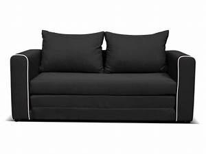 Canapé fixe convertible 2 places en tissu LAURA coloris noir Vente de Canapé droit Conforama
