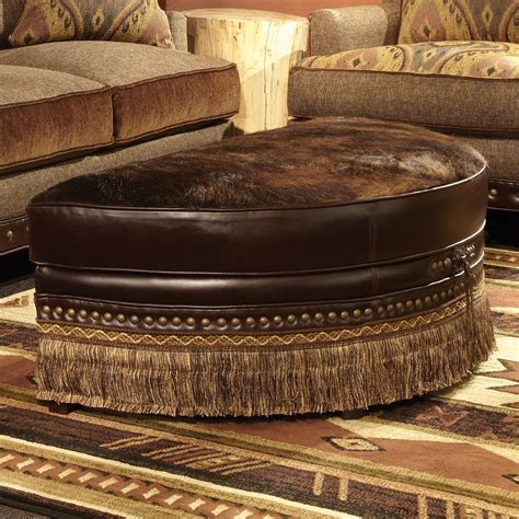 Brindle Chocolate Half Moon Cowhide Ottoman