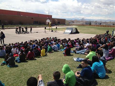 bmx show promotes safe transportation school aurora public schools
