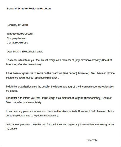 director resignation letter templates    word