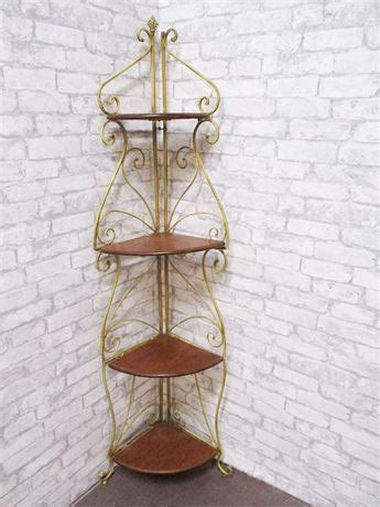 Wrought Iron Corner Etagere by Transitional Design Auctions Sweet Wood And