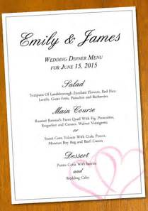 free wedding menu templates free sle wedding menu template