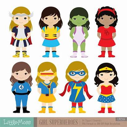 Superheroes Clipart Super Digital Chica Chicas Infantiles