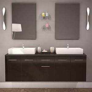 Double Vasque Pas Cher : meuble salle de bain double vasque olex 150cm laqu noir ~ Dailycaller-alerts.com Idées de Décoration