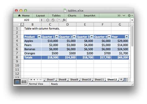 working  worksheet tables xlsxwriter documentation