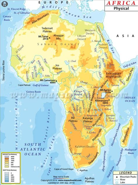 Africa Physical Map | Geography map, Desert map, Africa map
