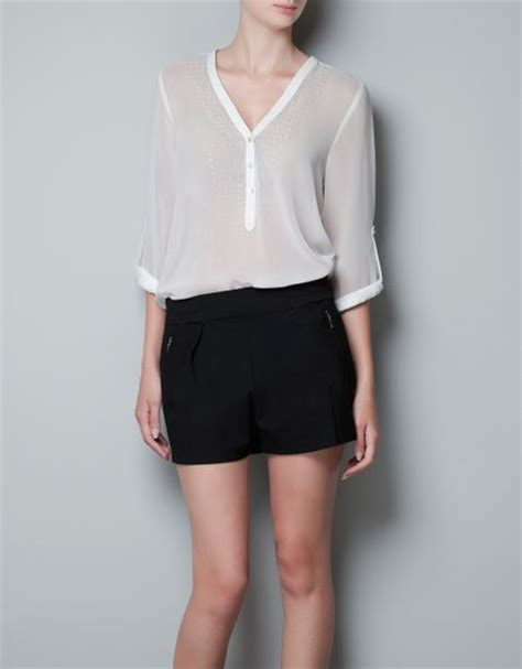 zara white blouse zara blouse with diamante bib front in white white
