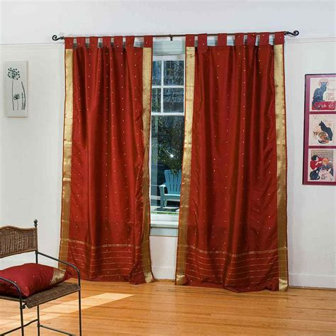 rust drapes rust tab top sheer sari curtain drape panel ebay
