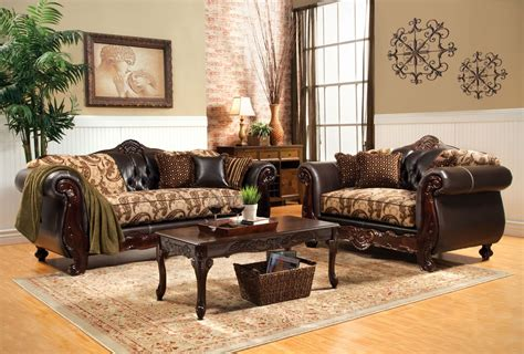 2 Piece Bonaparte Traditional Wood Trim Sofa Set