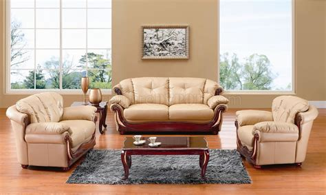 beige leather classic living room wcherry wooden accents