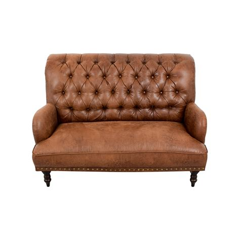 tufted leather settee 36 pier 1 imports pier 1 imports faux vintage