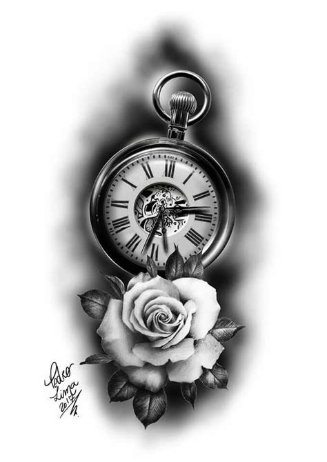 Tattoo clock | Tatouage horloge, Tatouage montre gousset