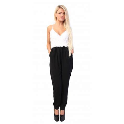 and black jumpsuit alysha black white tapered jumpsuit from parisia