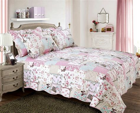 Floral Quilts And Coverlets by Vintage Country Cottage Quilted Bedspread Comforter Set