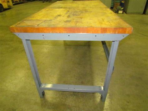 industrial steel workbench  butcher block  drawer