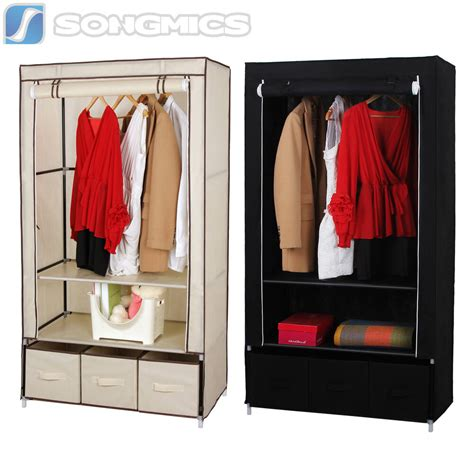 Wardrobe With Drawers And Hanging by Songmics Canvas Wardrobe With Clothes Hanging Rail Shelves