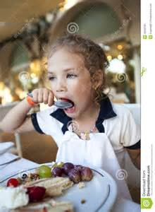 Little Girl Open Mouth Eating