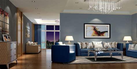 Luxury Open Floor Living Room With Steel Blue Wall Paint
