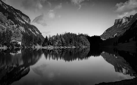 seealpsee lake  black  white appenzell innerrhoden