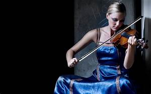 Violinist in a blue dress wallpapers and images ...