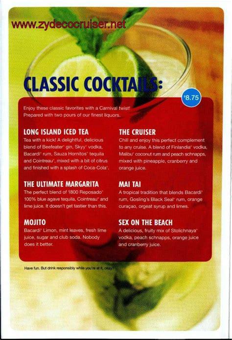 carnival bar menu page  cruise info   carnival