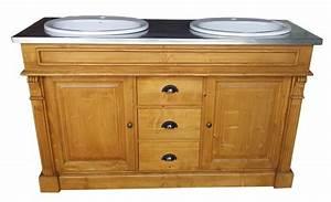 meuble de salle de bain double vasque en pin massif With meuble lavabo bois massif 2 grand meuble de salle de bain en pin massif
