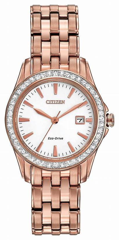 Crystal Silhouette Ladies Citizen Gold Pink Drive