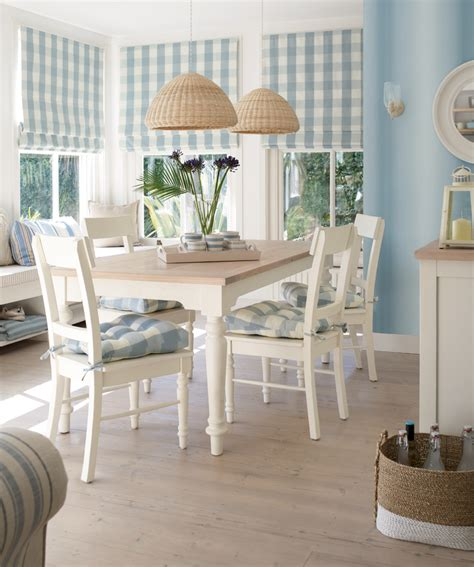 Coastal Dining Room With Beachy Blue Chairs Gallery And