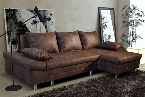 canapé grande taille canapé d 39 angle convertible en tissu marron vieilli ultimo