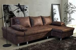 Canap d39angle convertible marron vieilli en tissu avec for Tapis de yoga avec canapé avec meridienne reversible