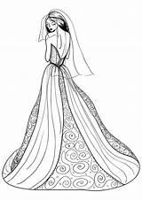 Coloring Pages Dresses Printable Wearing Drawings Getcolorings Getdrawings sketch template