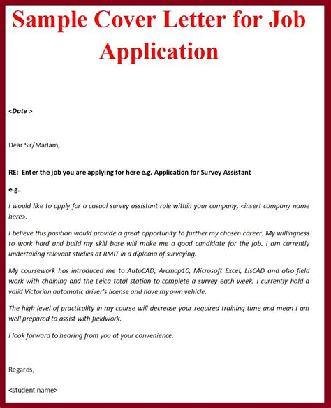 sample cover letter format  job application