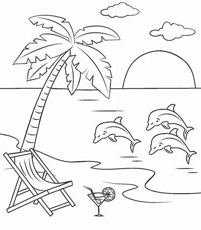 Coloring Printable Scene Sheets Dolphins Sunset Scenes