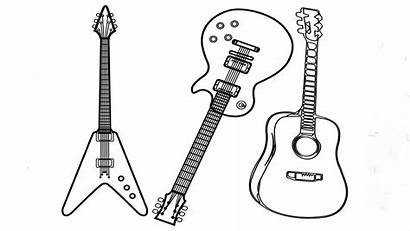 Guitar Types Coloring Pages Three Printable Play