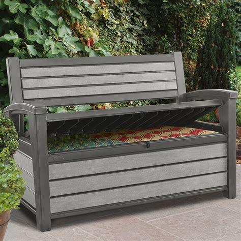 banc resine tressee coffre banc de jardin en r 233 sine brossium 227l gris