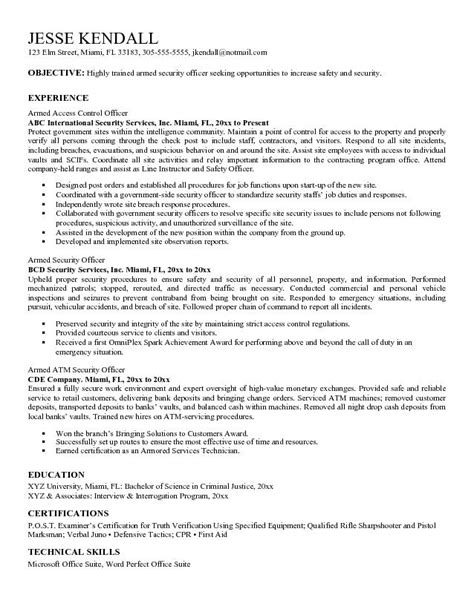 Ascii Resume Sle ascii resume exle armed security officer resume free sle