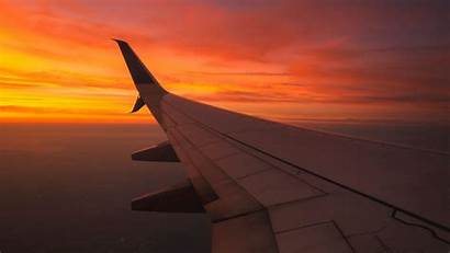 Wing Flight Aircraft Sky Sunset 4k Background
