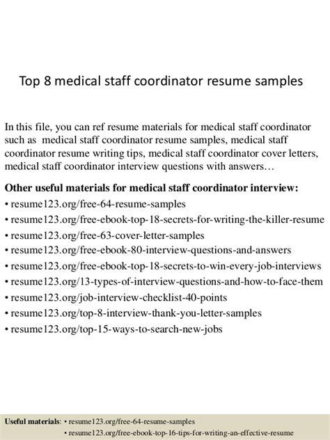 top 8 staff coordinator resume sles