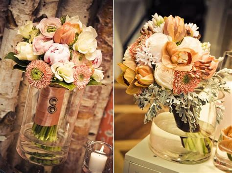 Romantic Ivory Peach And Coral Bridal Bouquets