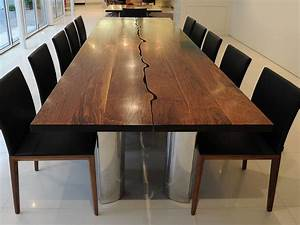 Modern Dining Table in Solid Walnut and Aluminium - Fine