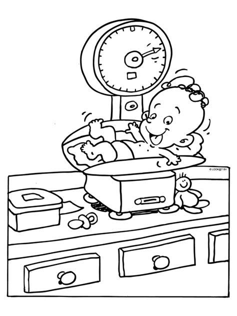 Kleurplaat Baby In Wieg by Kleurplaat Geboorte Gewicht Weegschaal Kleurplaten Nl
