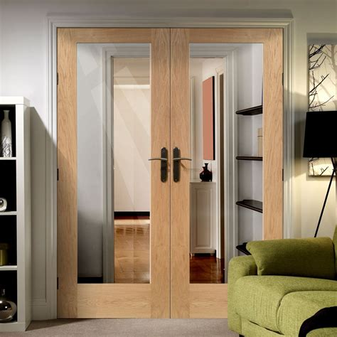 pattern  style oak fire door pair  clear fire safety