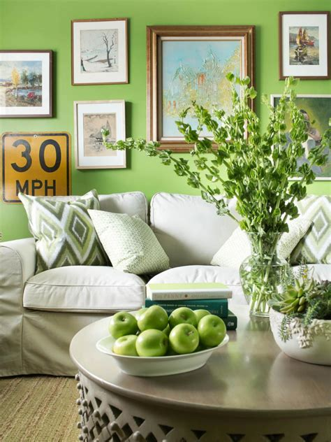 crisp apple green living room with neutral sofa and framed