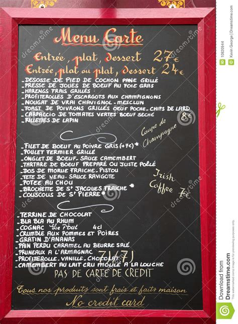 french language menu paris france