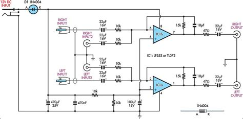 dual input combining stereo  amplifier circuit diagram