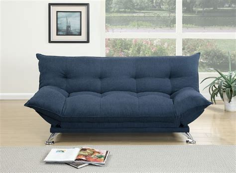 Navy Blue Fabric Adjustable Sofa Bed Futon With Flipup