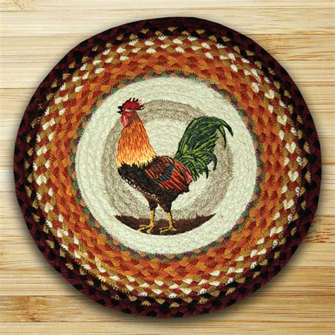 rooster hooked chair pads rooster braided jute chair pad by capitol earth rugs