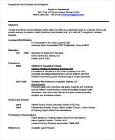 resume exles for nursing graduates 4 sle graduate resume exles in word pdf