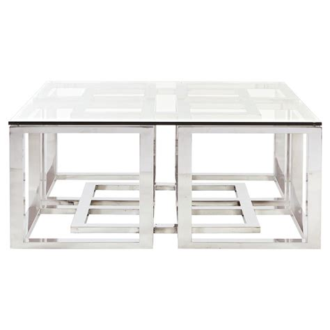 silver glass coffee table mercer stainless steel silver square glass coffee table