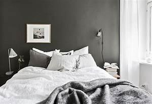 Bedroom, With, Dark, Painted, Walls, Scandinavian, Decoration